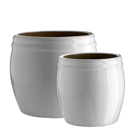 Pot in ceramic, set of 2, L, white