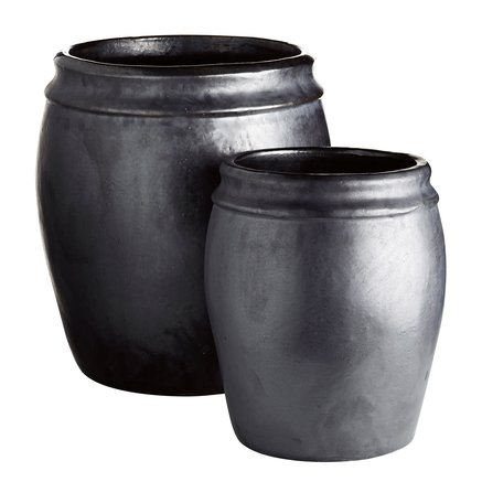 Garden pot in ceramic, matt, set of 2, XL, phantom