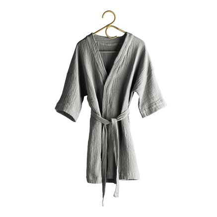 Bath robe in soft cotton with woven checkered pattern, kit