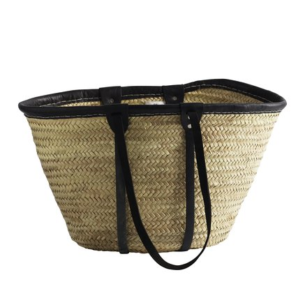 Shopping basket w. leather handles, black