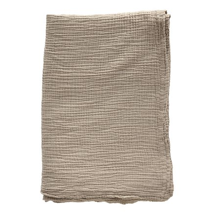 Bed throw, solid col, 190 x 260 cm, cotton, hazel