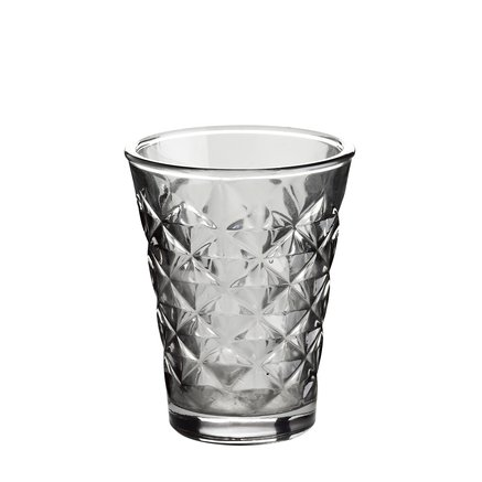 Facet glass for candle, H10, grey