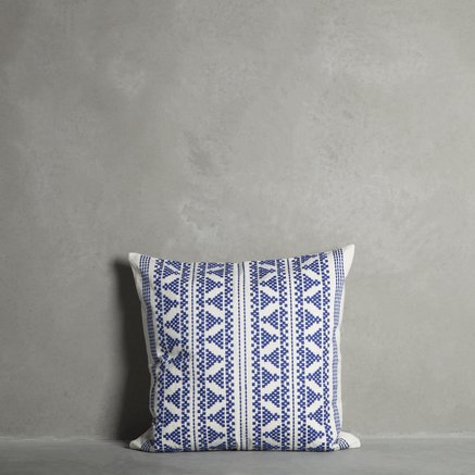 Cushion cover, w. embroidery, 60 x 60 cm, cotton, azul