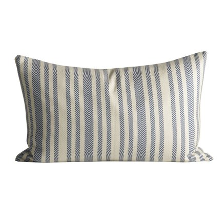 Thick herringbone woven cushion with stripes, 50 x 75 cm, azul