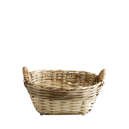 Marked bread basket D23xH14 w. handles, natural