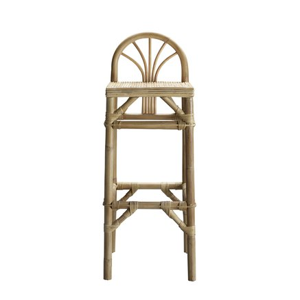 Bar stool in rattan with low back rest