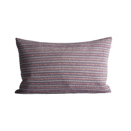 Cushion cover in fine woven and striped texture, 40 x 60 cm, purple