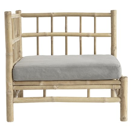 Bamboo lounge corner module with grey cushion