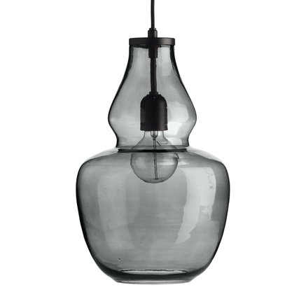 Glass pendant w. black top, D 25 x H 42 cm, grey