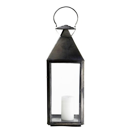 Lantern, oxidized solid brass, 25x25xH70, tin