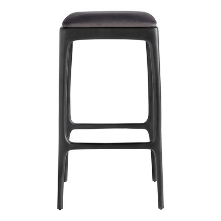Bar stool, recycled aluminium, 40x40xH75 cm, smoke