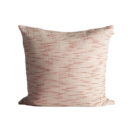 Thick woven cushion cover with horisontal stripes, 60 x 60 cm, red