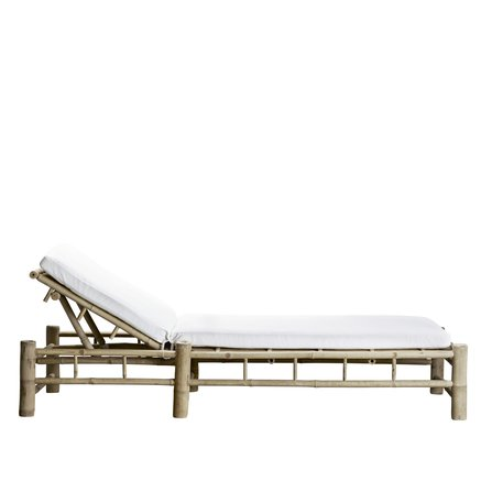 Bamboo sunbed with white mattress