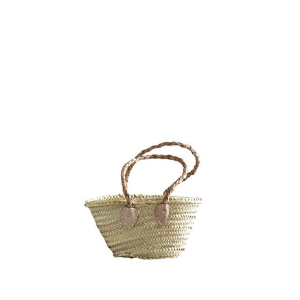 Shopping baskets mini, w. braided leather handles, XS