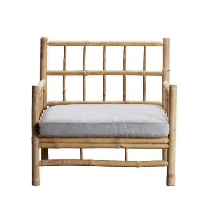Bamboo lounge chair with grey mattress