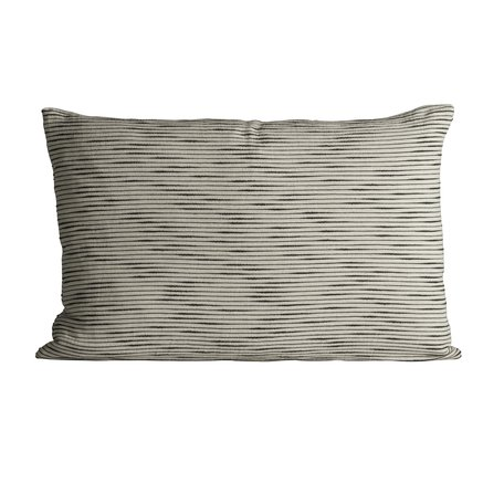 Thick woven cushion cover with horisontal stripes, 50 x 75 cm, black