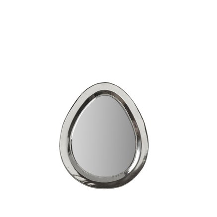 Egg shaped mirror with white silver frame, size M