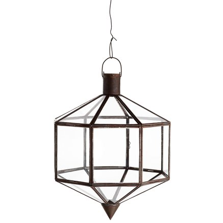 Lantern for socket, oxidized brass, 27x27xH35, tin