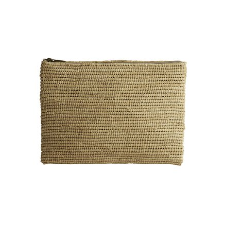 Clutch in woven bast string with Liberty lining, pink