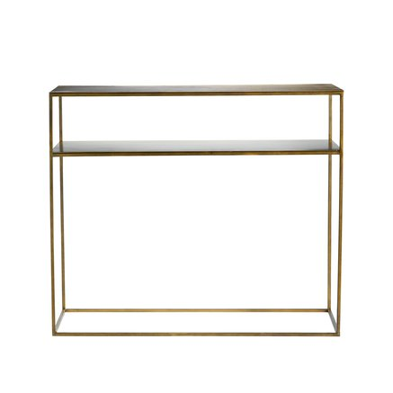 Metal console table w. shelf, honey gold