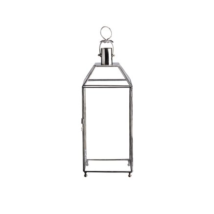 Simple sqaure glass lantern in white silver, size S