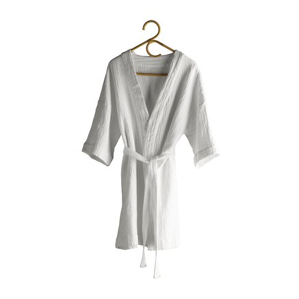 Bath robe in soft cotton with woven checkered pattern, white