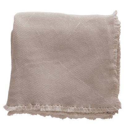 Bed throw, honeycombed, 260x260 cm, cotton, hazel