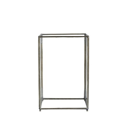 Open 4-sided glass lantern, M,20x20xH30 cm,silver