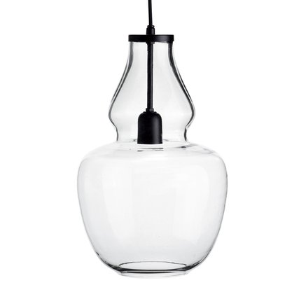 Glass pendant w. black top, D 25 x H 42 cm, clear