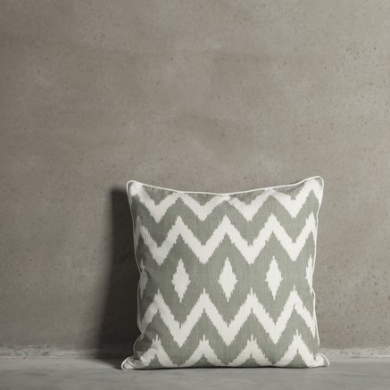 Cushion cover, wave, 50 x 50 cm, cotton, moss
