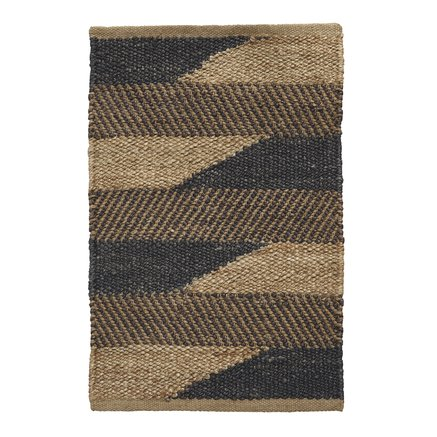 Carpet in jute, two-colored pattern, 60x90 cm, choco