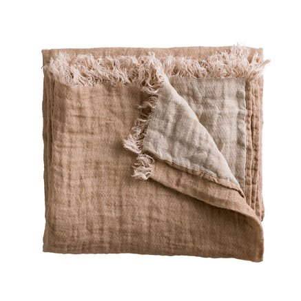 Double sided linen throw, rose/ecru