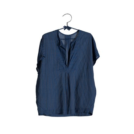 Bluse, stribet, one size, 100% bomuld, greek blue