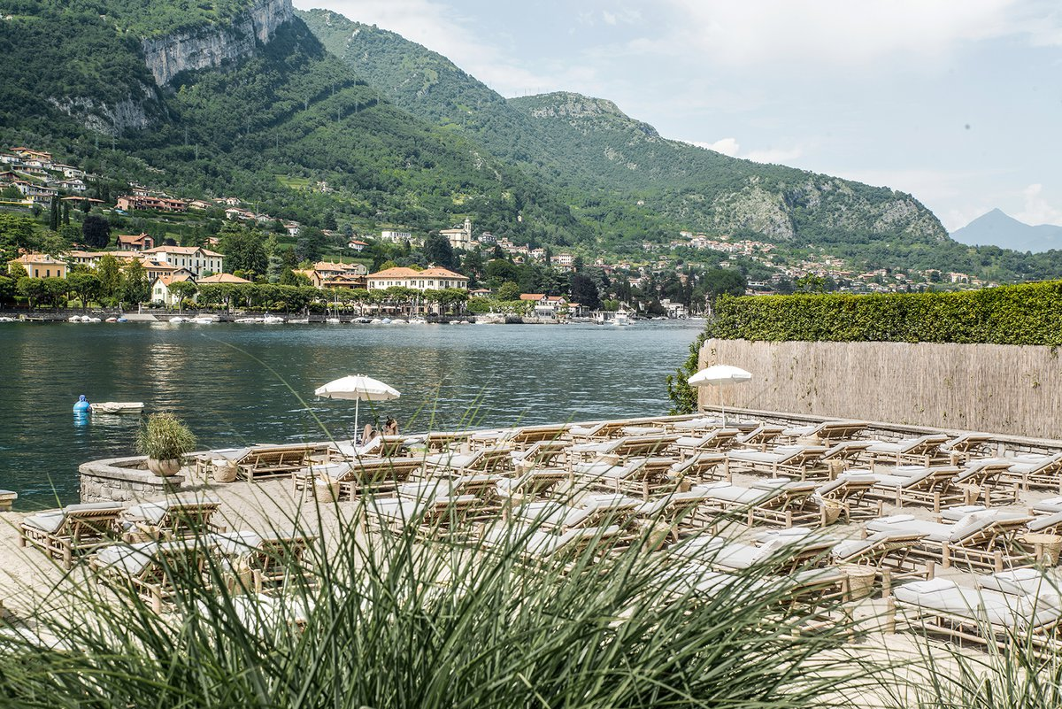 Lido Di Lenno beach bar at Lake Como, Italy decorated with tinekhome bamboo lounge furniture