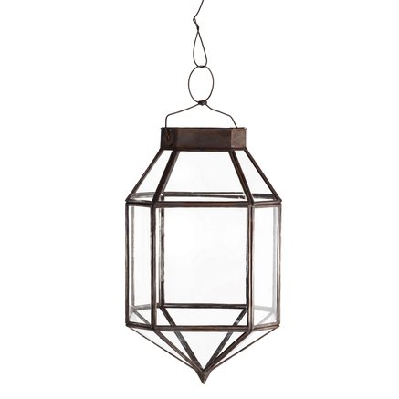 Lantern for socket, oxidized brass, 20x20x35, tin