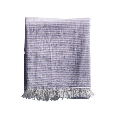 Towel with thin stripes and fringes, lavender