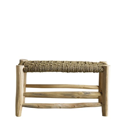 Stool in palmleaf/tree, double, natural