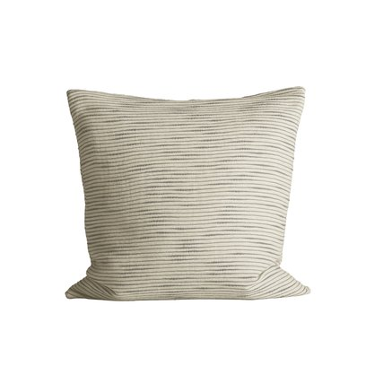 Thick woven cushion cover with horisontal stripes, 50 x 50 cm, ash
