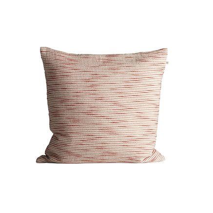 Thick woven cushion cover with horisontal stripes, 50 x 50 cm, red