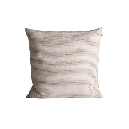 Thick woven cushion cover with horisontal stripes, 50 x 50 cm, pink