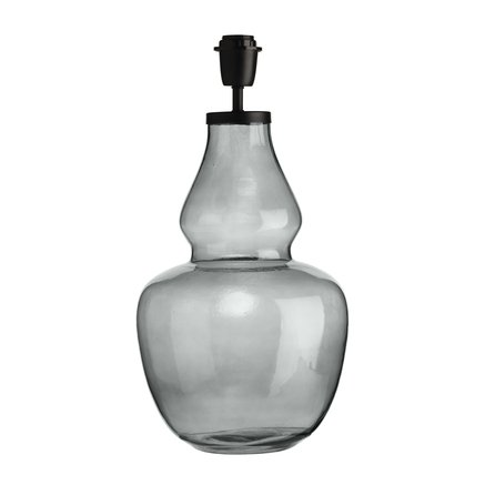 Glass lamp w. black top, D 25 x H 50 cm, grey
