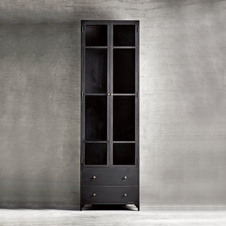 Glass Kitchen Cabinet Doors Only: Cabinet In Metal, W. Glass Doors And 2 Drawers, Black