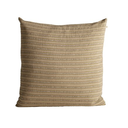 Cushion cover in fine woven and striped texture, 60 x 60 cm, curry