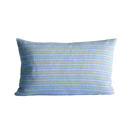 Cushion cover in fine woven and striped texture, 40 x 60 cm, baby blue