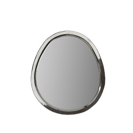 Egg shaped mirror with white silver frame, size L