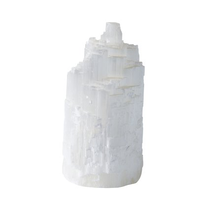 Tower, deco, selenite, 11xH22 cm white