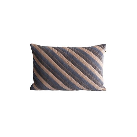 Cushion cover, 40x60, velvet, striped grey