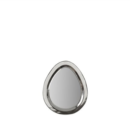 Egg shaped mirror with white silver frame, size S