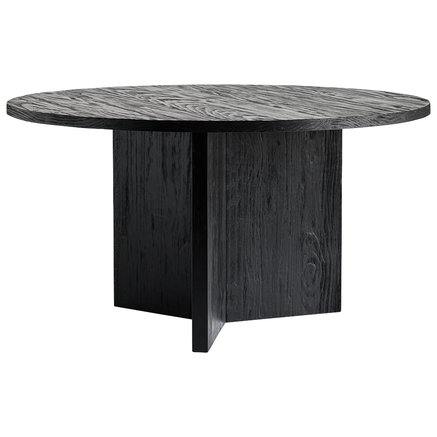 Round table in accoya treated wood, dia. 140 x H 75 cm, matt black