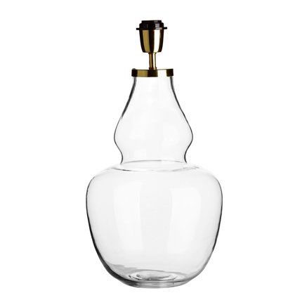 Glass lamp w. brass top, D 25 x H 50 cm, clear